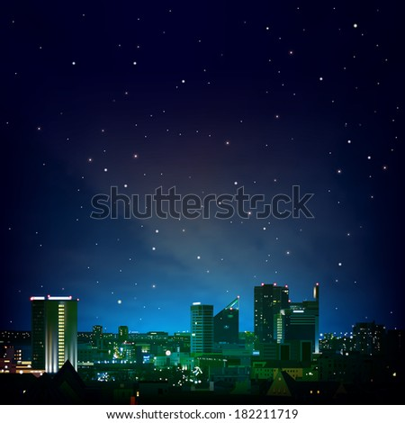 abstract night blue background with city and stars - stock vector