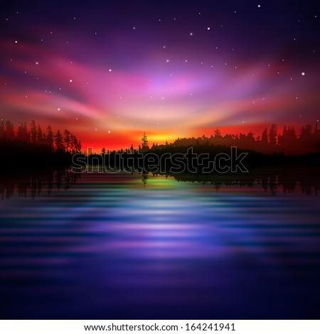 abstract night nature background with pink aurora borealis - stock vector