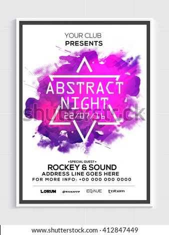 Abstract Night Party Template, Dance Party Flyer, Musical Party Banner or Club Invitation design with color splash. - stock vector
