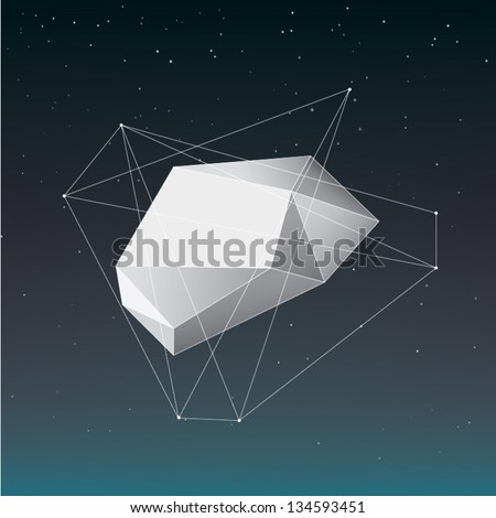Abstract night sky landscape - stock vector