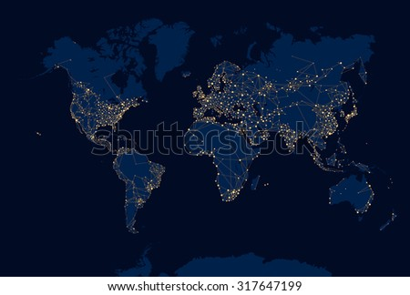 Abstract Night World Map - stock vector
