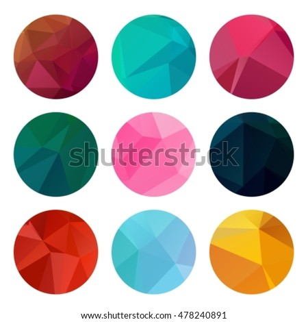 Abstract nine circle patterns set isolated on white. Polygonal background geometric triangle. Vector illustration design elements.