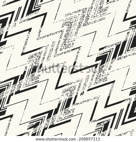 Abstract noisy textured zigzag background. Seamless pattern. Vector. - stock vector