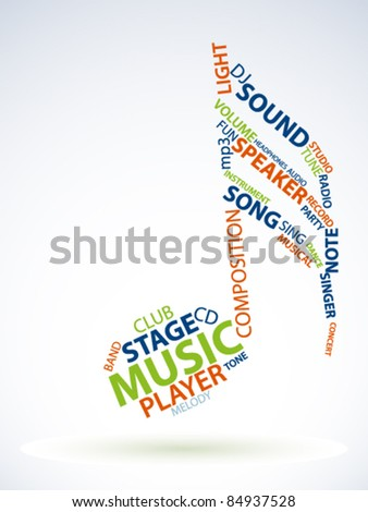 Abstract note made from words which relate with music - stock vector