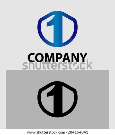 Abstract Number 1 logo Symbol icon set  - stock vector