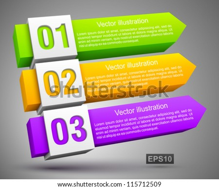 Abstract numbered banners 3D. - stock vector