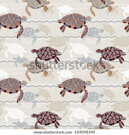 Abstract ocean background, sea and beach theme, fashion retro seamless pattern, exotic vector wallpaper, beautiful vintage fabric, wrapping with turtle and fish ornaments for design - stock vector