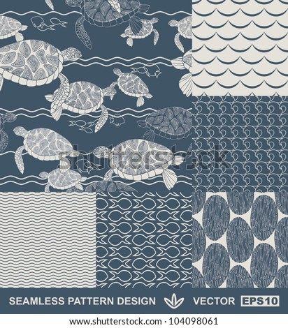 Abstract ocean backgrounds set, sea and beach theme, fashion retro seamless pattern, monochrome vector wallpaper, beautiful vintage fabric, blue wrapping; turtle, fish geometric ornaments for design - stock vector