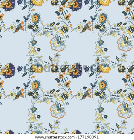 abstract of abstract of flowers, pattern of branches. Blue background. - stock vector