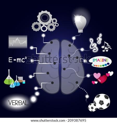 Abstract of brain function idea, vector illustration. - stock vector