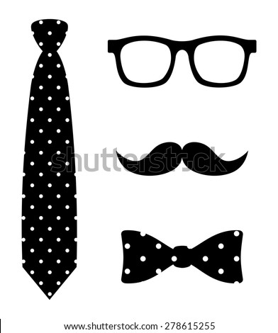Abstract old fashioned hipster style set bow tie, wayfarer eye glasses and curl mustache. black and white polka dot pattern simple graphic design, vector art image illustration, isolated on background - stock vector
