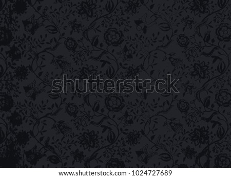 abstract old vintage textile ornament in vector with branch of rococo flowers ans other classic old pattern