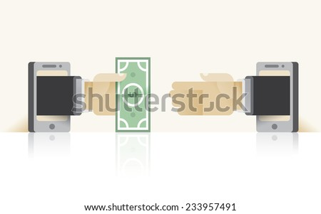Abstract online shopping with businessman hands making deal. Idea - Online business negotiations, Bank transactions, Using mobile technologies for business deals etc. - stock vector