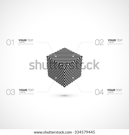 Abstract op art cube ideal for any kind of futuristic infographics vector stock eps 10 illustration - stock vector