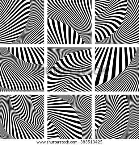 Abstract op art patterns set. Vector art. - stock vector