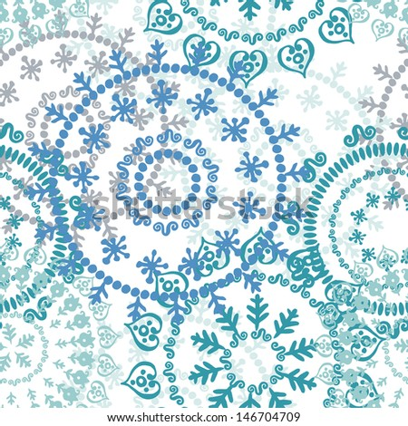 Abstract openwork retro seamless pattern in turquoise and blue. Fresh endless background - stock vector