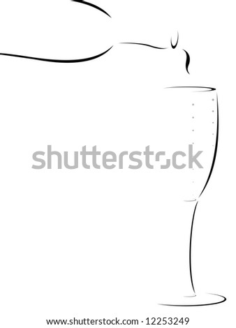 abstract or stylized bottle of champagne being poured into a flute - stock vector