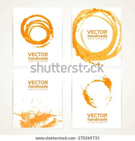 Abstract orange and white brush texture and circles hand drawing on  banner set - stock vector