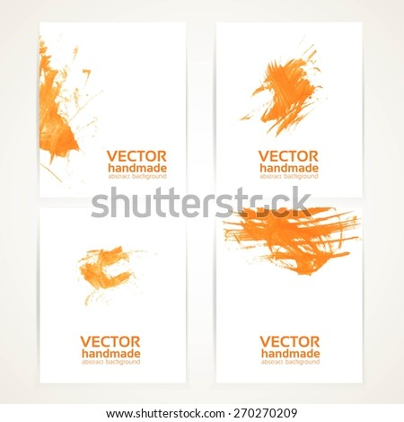 Abstract orange and white brush texture hand drawing on banner set - stock vector