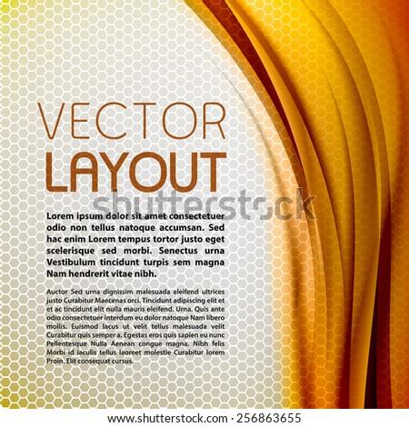Abstract orange background with grey hexagon. Vector design. - stock vector