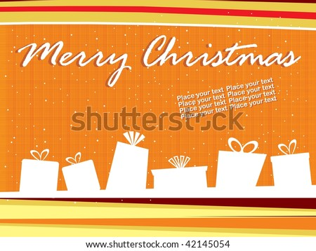 abstract orange background with shape of gift box - stock vector