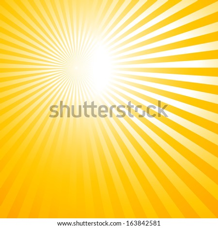 abstract orange background with sun rays - stock vector
