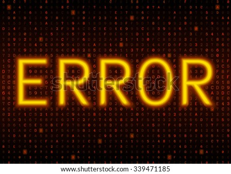 Abstract orange coding background with glowing error text. Binary hacker code concept. Bright symbols on a dark background. Vector illustration - stock vector