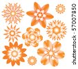 Abstract orange floral vector ornament collection over white background - stock vector