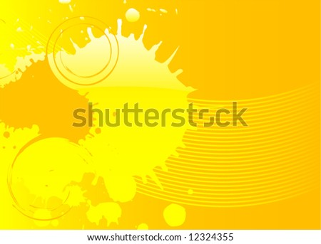 Abstract orange fresh glossy  vector design illustration with splashes - stock vector
