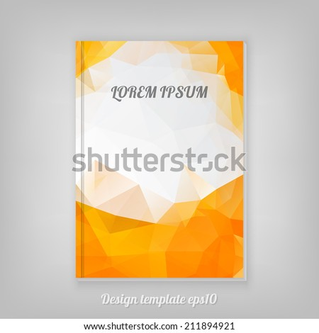 Abstract orange geometric cover design with triangular polygons - stock vector