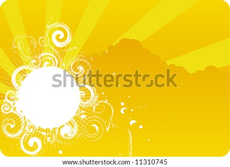 Abstract orange grunge sky background - stock vector