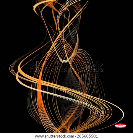 abstract orange line beige wave yellow band isolated on black background.