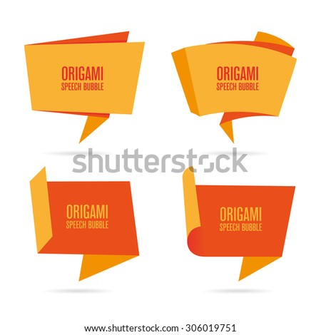 Abstract orange origami speech bubble - stock vector