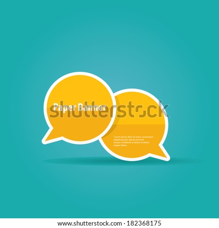abstract orange paper vector banner or speech bubble on blue background - stock vector