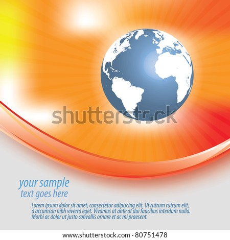Abstract orange red yellow background with globe - stock vector
