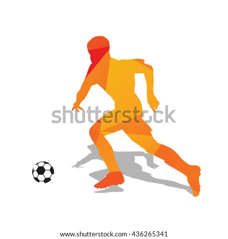 Abstract orange soccer player. Running football player. Polygonal vector silhouette