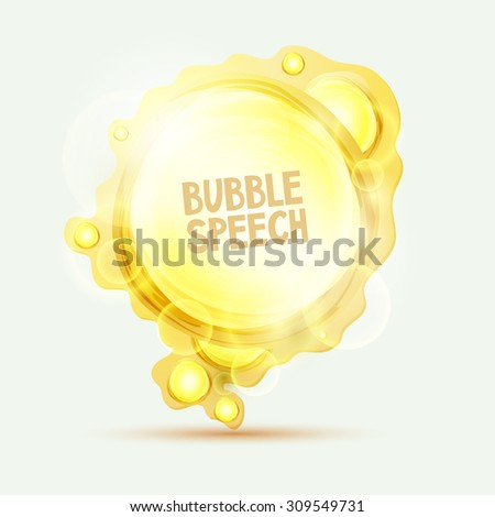 Abstract orange speech bubble - stock vector