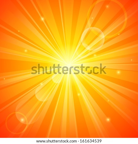 Abstract orange sunny background - stock vector