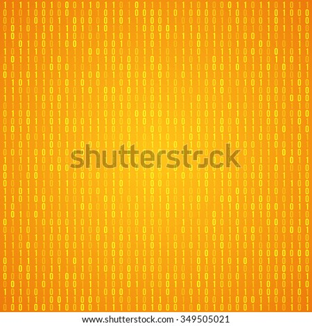 Abstract Orange Technology Background. Binary Computer Code. Programming, Coding and Hacker concept. Vector Background Illustration. - stock vector