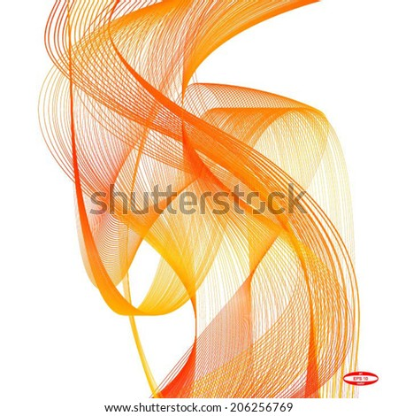abstract orange wave red line on white background vector - stock vector
