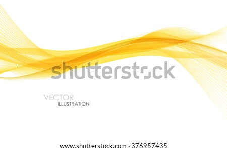 Abstract orange waves - data stream concept. Vector illustration. Clip-art - stock vector