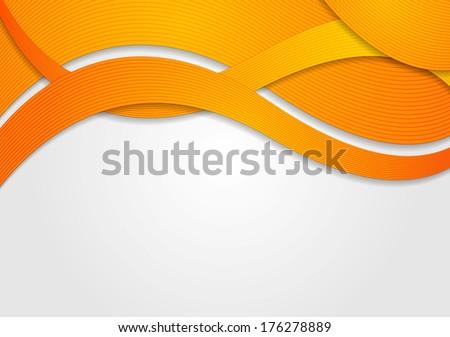 Abstract orange waves. Vector design eps 10 - stock vector