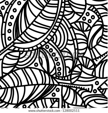 Abstract organic composition with leaves and curved lines, vector illustration - stock vector