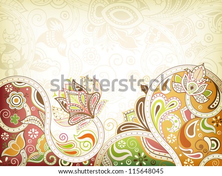 Abstract Oriental Floral Background - stock vector