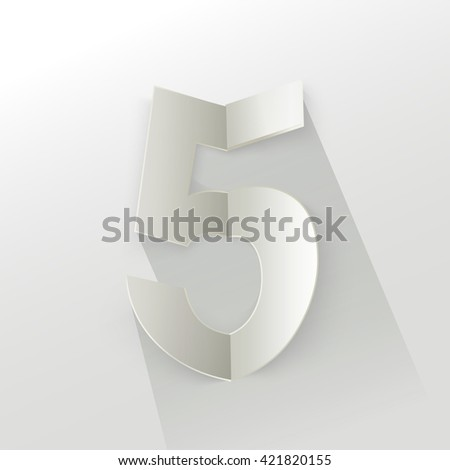 "Abstract Origami Bold Typeface Vector Design of a Number ""5"" Character Font for Your Decorative Branding Text"