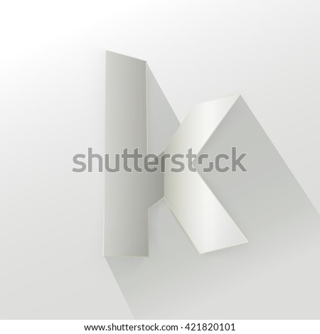 "Abstract Origami Bold Typeface Vector Design of a Small ""k"" Character Font for Your Decorative Branding Text"