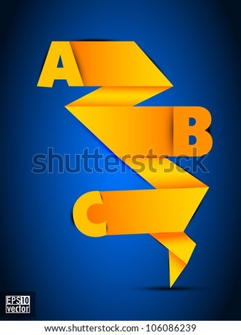 Abstract origami paper design with alphabetic letters on blue. EPS 10. - stock vector