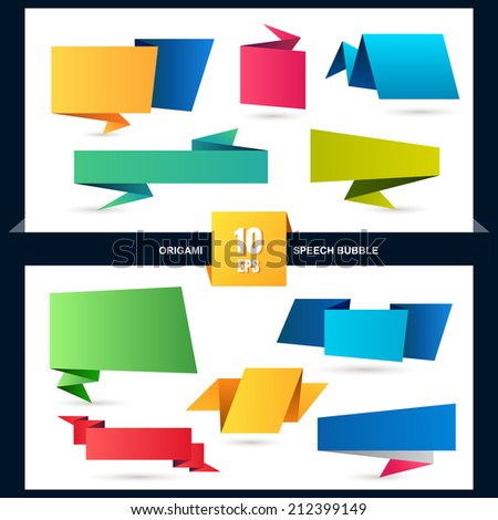 Abstract origami speech bubble set, vector background. - stock vector