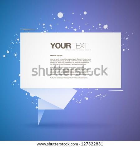 Abstract origami speech bubble text box vector - stock vector