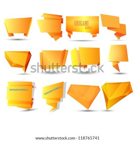 Abstract origami speech bubble vector background - stock vector